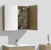 Armario espejo baño 80cm MONTADO SIENA ROBLE CLARO