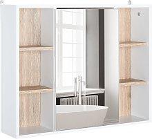 Armario espejo para baño blanco y madera HomCom