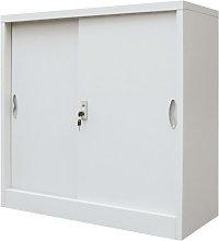 Armario oficina con puertas correderasetal gris