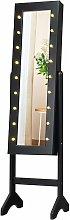 Armario para Joyas Espejo Joyero de Pie con 18 LED