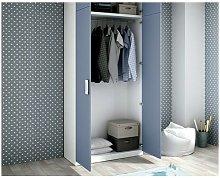 Armario ropero dos puertas con altillo, color azul