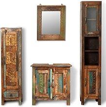 Armario tocador de baño con espejo de madera