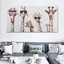 Arte colorido óleo animal jirafa Una familia