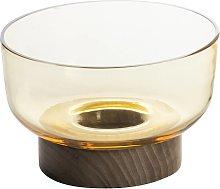 Artemide Bontà taza vidrio, pie madera, amarillo