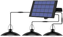 Asupermall - Lampara colgante solar de 3 cabezales