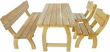 Asupermall - Mesa y banco de exterior 4 piezas de