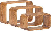 Asupermall - Mesitas auxiliares 3 piezas madera de