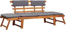 Asupermall - Sofa cama de jardin 2 en 1 con cojin