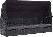 Asupermall - Sofa cama de jardin con toldo ratan