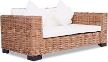 Asupermall - Sofa de dos plazas de ratan natural