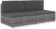 Asupermall - Sofa seccional de 2 plazas de ratan
