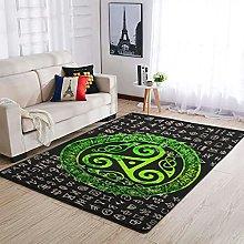 AXGM Alfombra con diseño de runas vikingas verdes