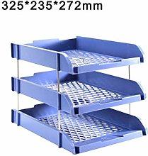 Azul/gris/negro 3 capas Espesar Archivo Bandejas