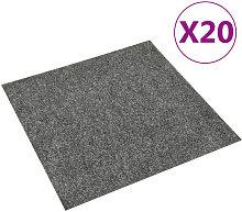 Baldosas de moqueta de suelo 20 unidades 5 m2 gris