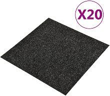 Baldosas de moqueta de suelo 20 unidades 5 m2 negro