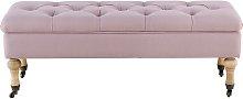 Banco baúl con ruedas de lino rosa