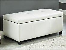 Banco baúl de piel sintética FILIPPO - Blanco