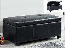 Banco baúl de piel sintética FILIPPO - Negro