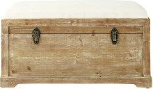 Banco con baúl de almacenaje de abeto y algodón