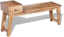 Banco con cajón madera de mango maciza 120x36x60