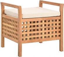 Banco de almacenamiento de madera maciza de nogal