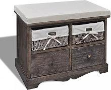 Banco de almacenamiento de madera marrón 2 cestas