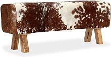 Banco de cuero de cabra auténtico 120x30x45 cm -