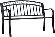 Banco de jardín acero negro 125 cm - Negro -
