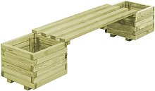 Banco de jardín con jardineras de madera de pino