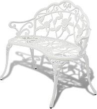 Banco de Jardín de Aluminio Fundido 100 cm Blanco