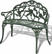 Banco de Jardín de Aluminio Fundido 100 cm Verde
