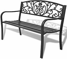 Banco de jardin de hierro fundido negro 127 cm