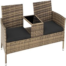 Banco de jardín de poli ratán con mesa - mueble