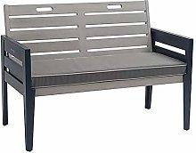 Banco de jardín gris, dos plazas, asiento de