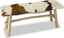 Banco de madera de teca con cuero auténtico -