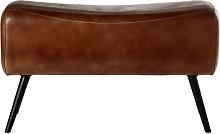 Banco de piel de búfalo marrón y metal negro