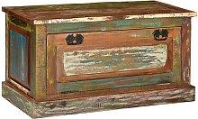 Banco zapatero de madera maciza reciclada -