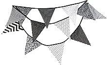 Banderines de fiesta en blanco y negro, para