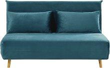 Banqueta-cama de 2 plazas de terciopelo azul