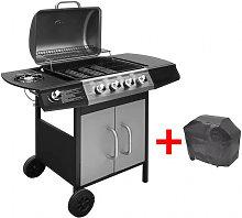 Barbacoa grill de gas 4+1 quemadores negra y