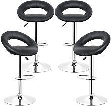 Bathrins - 4x Taburete de bar negro, silla de bar