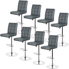 Bathrins - Gray-Set de 8 Taburete de bar, silla de