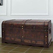 Baúl cofre grande de madera marrón - Hommoo