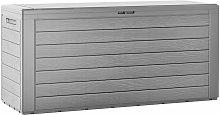 Baúl de almacenaje de plástico Gris 120x46x57cm almacenamiento de exterior jardín con tapa plegable y asas arcón - Deuba