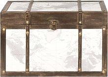 Baúl mapamundi blanco y marrón