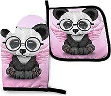 Bebé Panda con Gafas, Guantes para Horno y