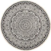 Beliani - Alfombra redonda color crema/negro HIZAN
