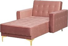 Beliani - Chaise longue de terciopelo rosa ABERDEEN