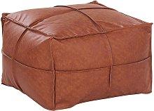 Beliani - Puf en piel sintética marrón 73x73 cm
