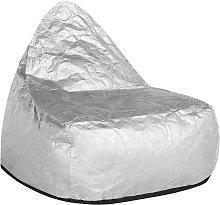 Beliani - Puf sillón plateado LINEN DROP
